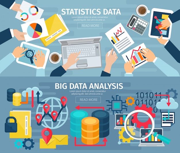 Big data analysis and database statistic systems 2 flat banners Free Vector