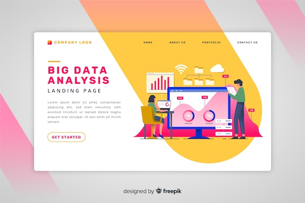 Big data analysis landing page Free Vector