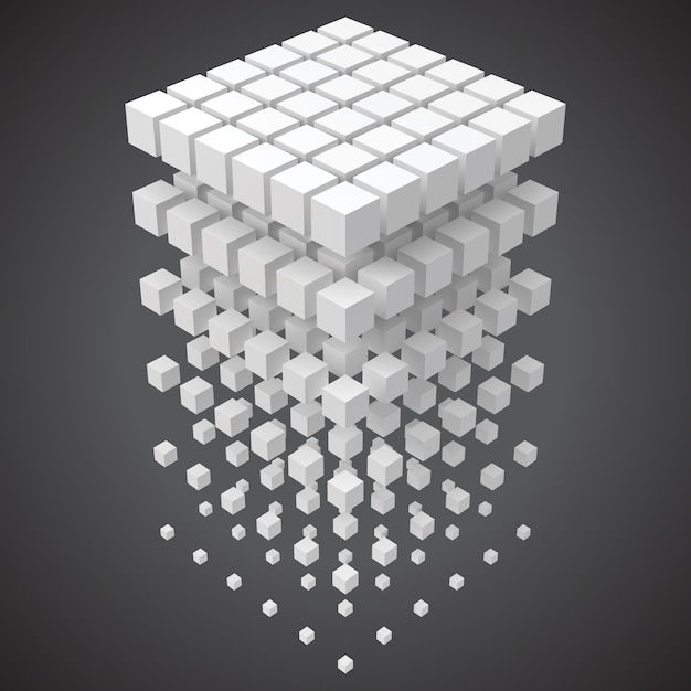 Big data, blockchain and technology concept with cubes in 3d Premium Vector