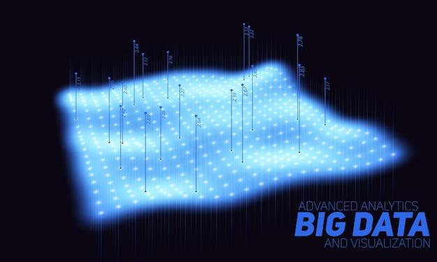 ビッグデータの青いプロットの視覚化。未来的なインフォグラフィック。情報美的デザイン。視覚的なデータの複雑さ。複雑なデータスレッドのグラフィックの視覚化。 無料ベクター