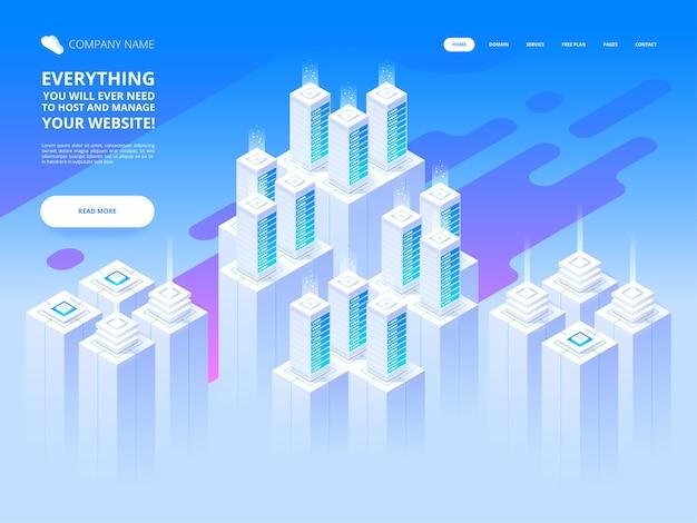 Большой дата-центр и технология облачного хранения Premium векторы