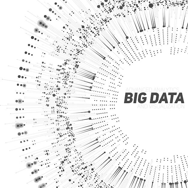 빅 데이터 원형 그레이 스케일 시각화. 미래의 인포 그래픽. 정보 미학 디자인. 시각적 데이터 복잡성. 복잡한 데이터 스레드 그래픽 시각화. 소셜 네트워크. 추상 데이터 그래프 무료 벡터