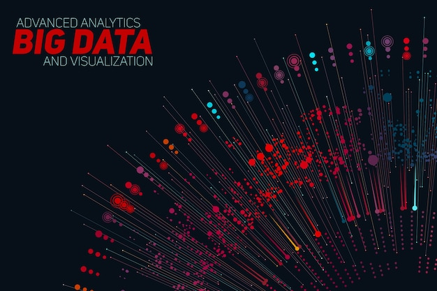 Big data circular grayscale visualization. information aesthetic design. visual data complexity. complex data threads graphic visualization. Free Vector