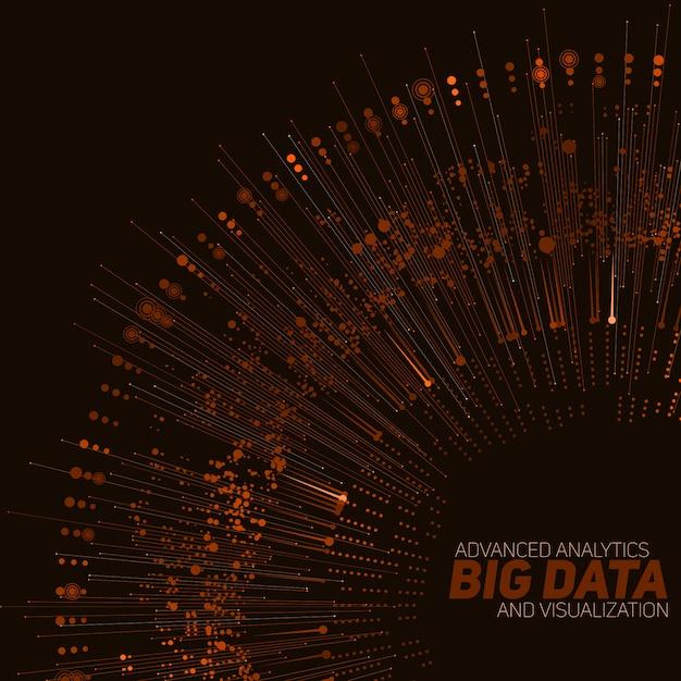 Visualizzazione circolare arancione di big data. Vettore gratuito