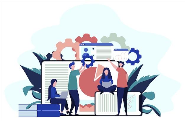 Концепция больших данных. современные компьютерные технологии. анализ цифровой информации из интернета и принятие лучших бизнес-решений. иллюстрация Premium векторы