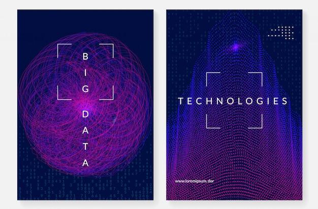 Big data cover design. technology for visualization Premium Vector