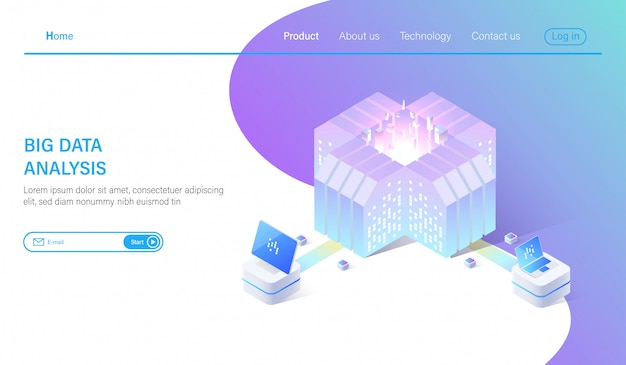 Big data and data center analysis system isometric Premium Vector