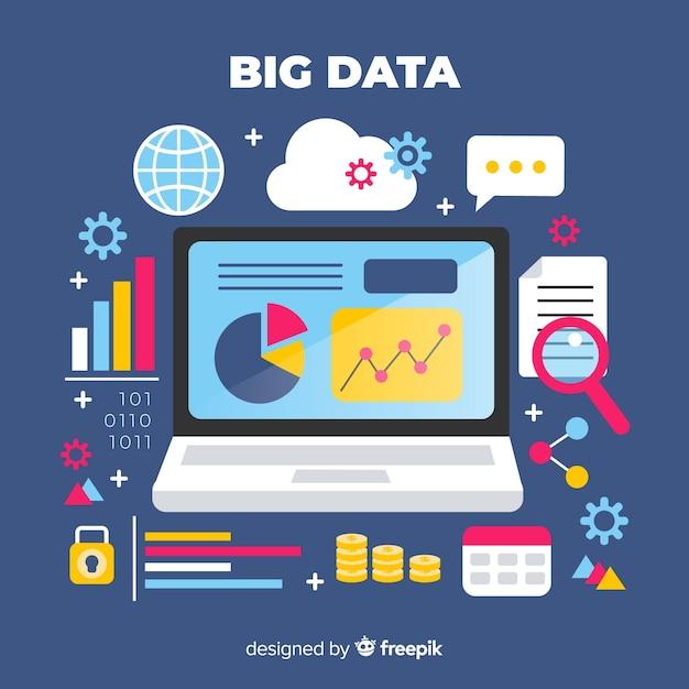 Big data flat background Free Vector