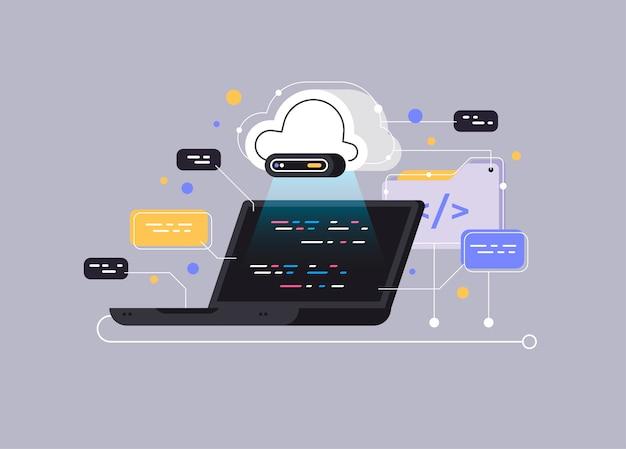 Big data flow processing concept, cloud database. Premium Vector