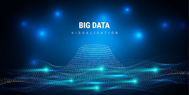 Big data. futuristic info graphics aesthetic design. visual information complexity. intricate data threads plot. business analytics representation. wave points fractal grid. sound visualization. Premium Vector