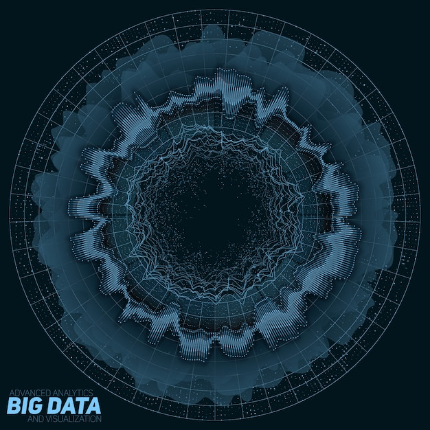 ビッグデータのグリーンな視覚化。情報美的デザイン。視覚的なデータの複雑さ。複雑なデータスレッドのグラフィック。 無料ベクター