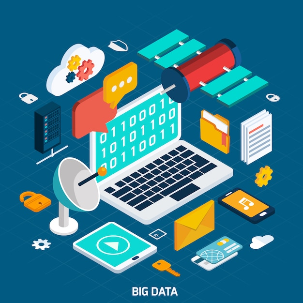 Big data isometric concept Free Vector