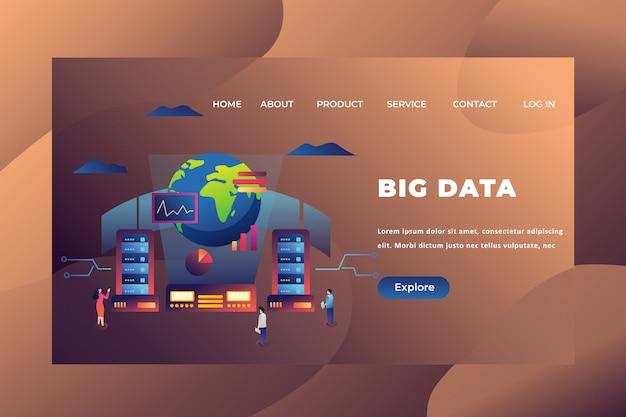 Big data landing page template Premium Vector