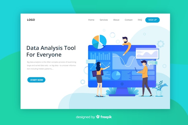 Big data landing page Free Vector