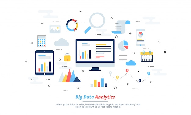 Big data, machine alogorithms, analytics concept saftey and security concept. fin-tech (financial technology) background. colorful flat illustration style. Premium Vector