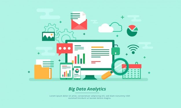 Big data, machine alogorithms, analytics concept saftey and security concept. fin-tech (financial technology) background. flat illustration style. Premium Vector