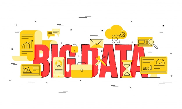 Big data, machine alogorithms, analytics concept saftey and security concept. fin-tech (financial technology) background. golden and red illustration. Premium Vector