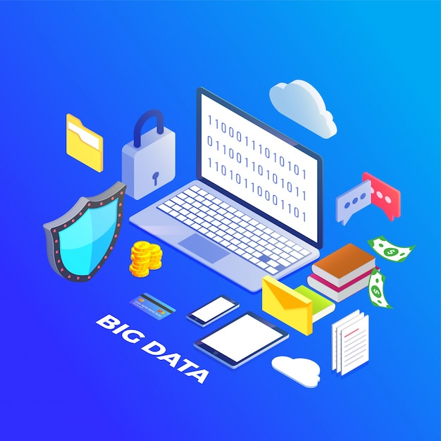 Big data, machine alogorithms concept saftey and security concept. fin-tech (financial technology) background. Premium Vector