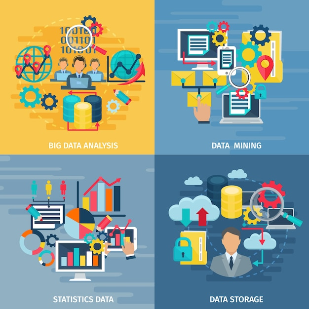 Big data mining analysis and storage technology 4 flat icons square composition banner Free Vector