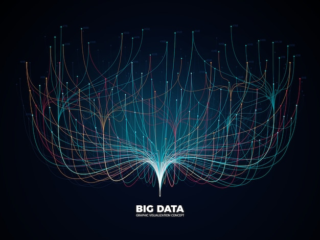Big data network visualization. digital music industry, abstract science background. Premium Vector