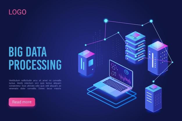 Big data processing analysing, analytics data servers lisometric landing page neon template Premium Vector
