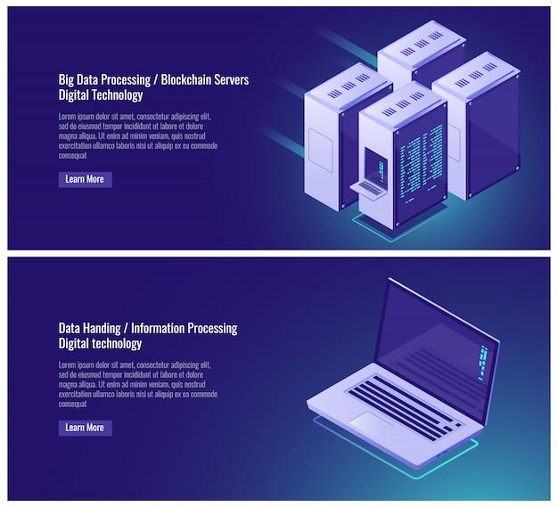 Big data processing, blockchain, digital technology, server room rack Free Vector