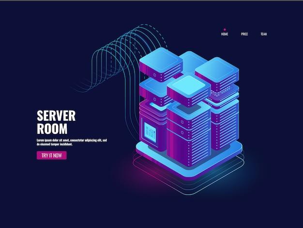 Grande elaborazione dati, tecnologia blockchain, sistema di accesso token, sala server Vettore gratuito