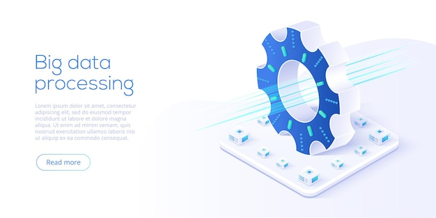 Big data technology in isometric vector illustration