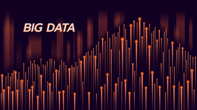 Big data technology orange background Premium Vector