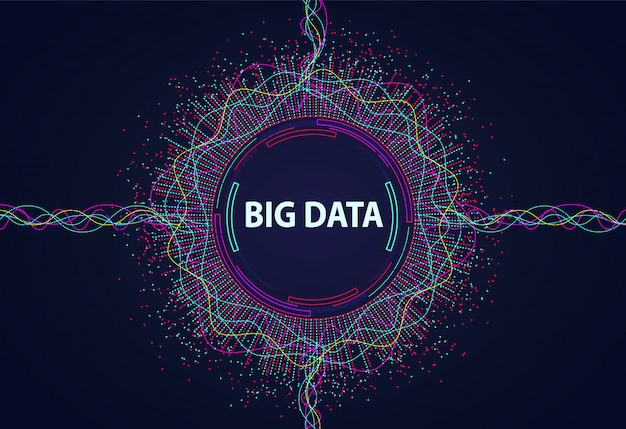 Big data. visual information flow from points and lines. Premium Vector