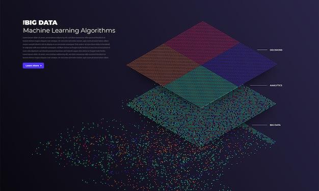 Визуализация больших данных. визуальная аналитика сложности данных. концепция инфографики. графическое изображение информационной строки. график абстрактных данных. иллюстрация Premium векторы