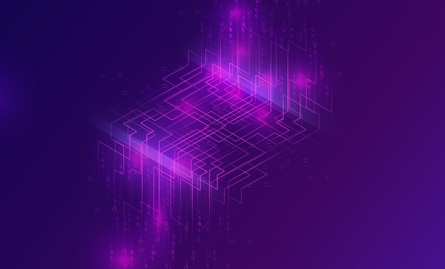 Big data waterfall, streams of digital binary code Free Vector
