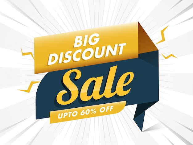 Big discount offer up to 60% off for sale banner design. Premium Vector