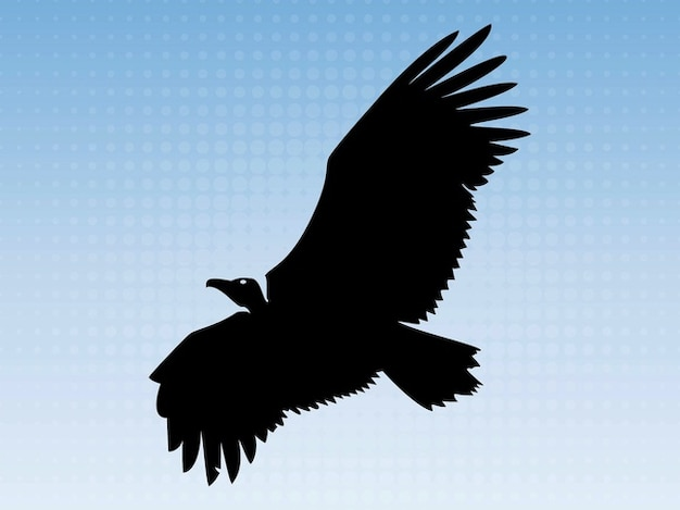 Big eagle flying animal silhouette Free Vector