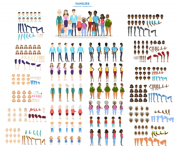 Big family character set for the animation with various views Premium Vector