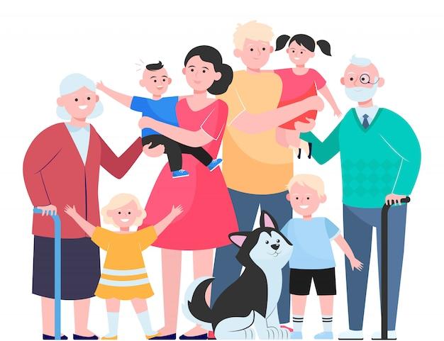 Концепция большой семьи Бесплатные векторы