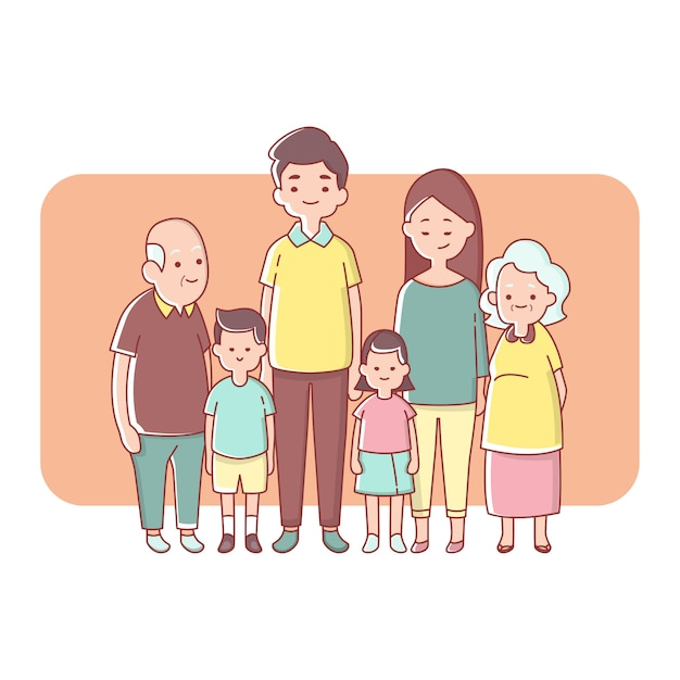 Big family generation happy together Premium Vector
