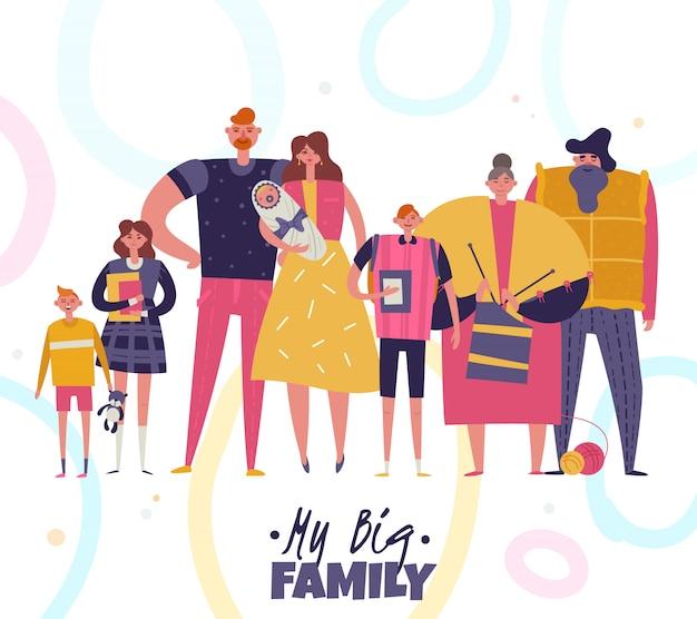 Big family illustration Free Vector