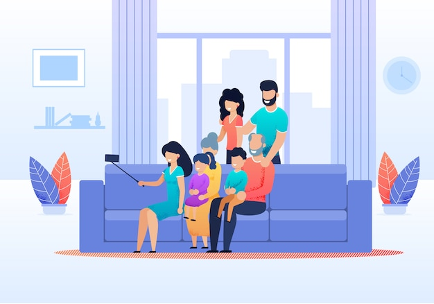 Big family members gathered together to make selfie Premium Vector