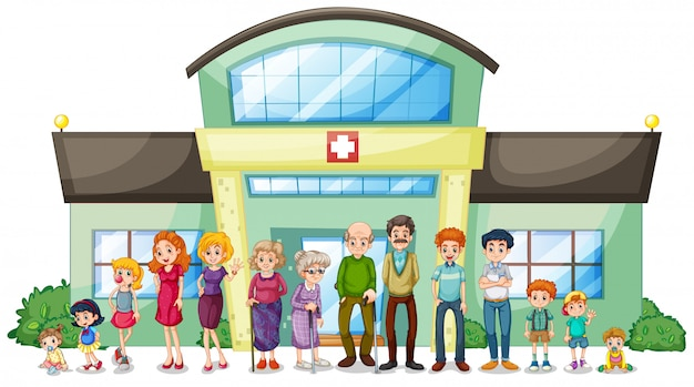 A big family outside the hospital Free Vector