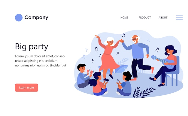 Big family party. website template layout Free Vector