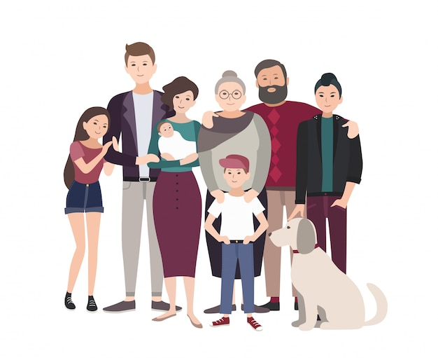 Big family portrait. happy people with relatives. colorful flat illustration. Premium Vector
