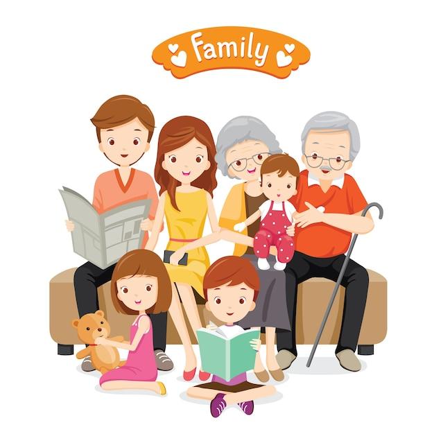 ソファと床に座って、リラックスして幸せな大家族 Premiumベクター