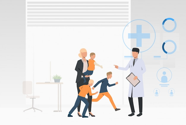 Big family visiting doctor Free Vector