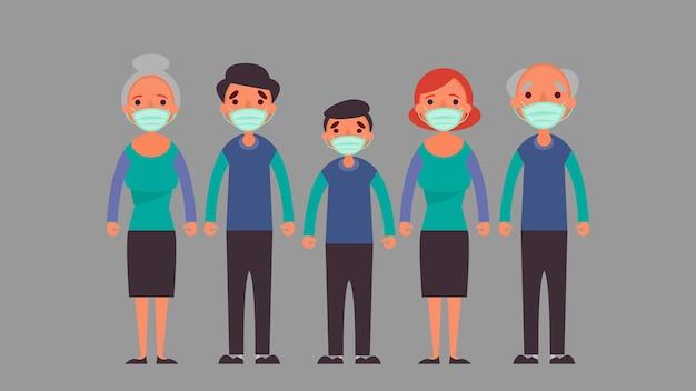 ฺ большая семья в защитной медицинской маске. снижение риска возникновения инфекционных и концептуальных кризисных ситуаций, с которыми мы сталкиваемся во всем мире из-за коронавируса коронавирус 2019-nco Premium векторы