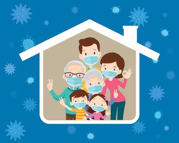 Big family  wearing a surgical mask to prevent virus in house icon Premium Vector