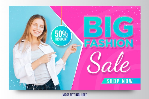 Big fashion sale discount banner or flyer template Premium Vector