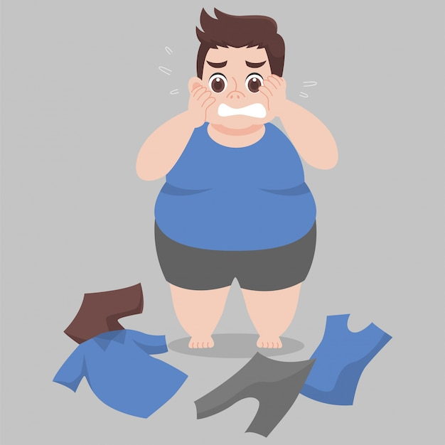 Big fat man cannot wearing her clothes because she is too fat Premium Vector