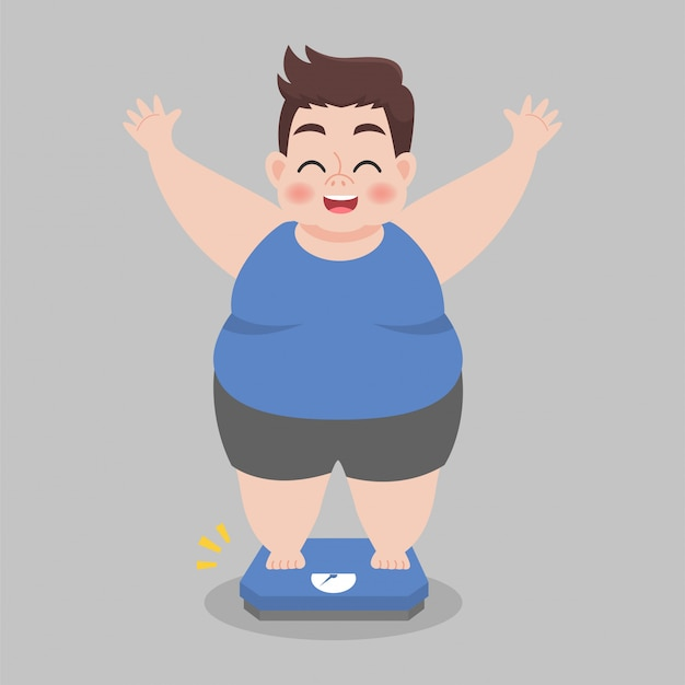 Big fat man happy standing on electronic scales for weight body. Premium Vector