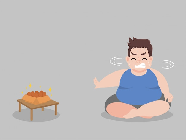 Big fat man hungry try to not eat chicken drumstick Premium Vector